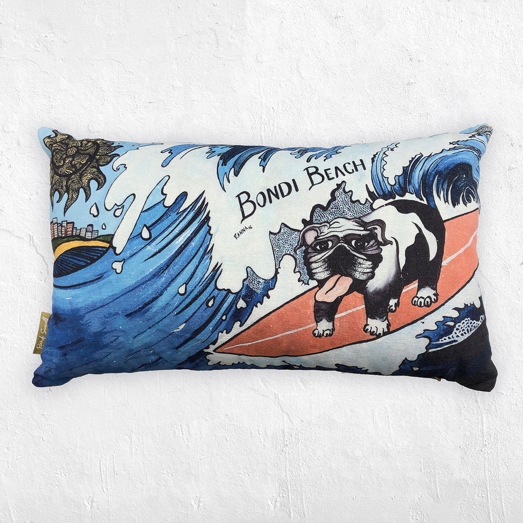 Bondi Seawall Cushion - Surfer Doggo