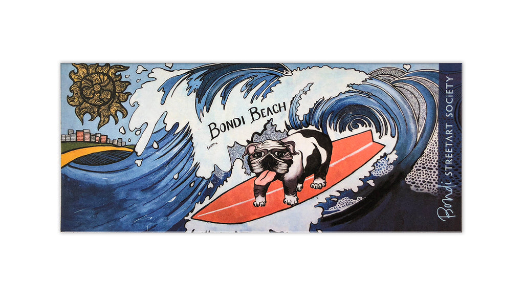 Bondi graffiti souvenir magnet, surfing dog