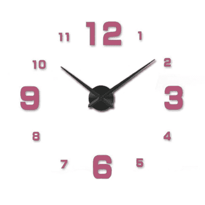 3D Wallclock oupseven Pink 37 inches