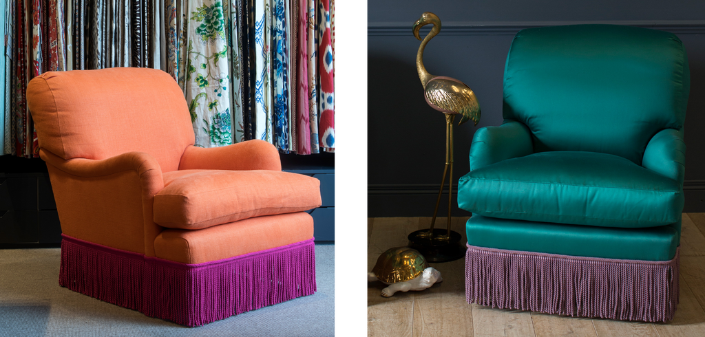 Two bayswater chairs, both with bright contrasting fringes