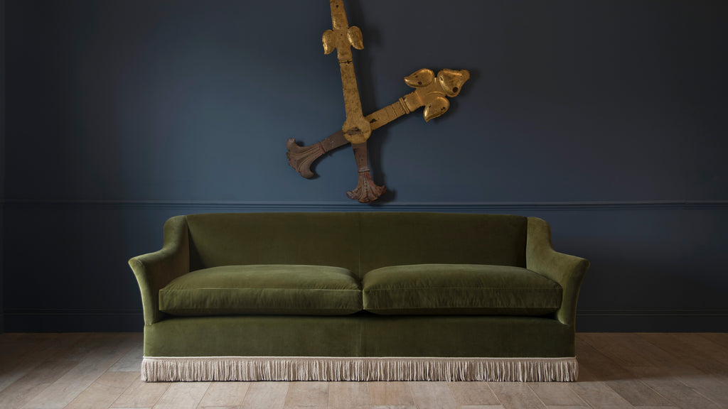 The Elmstead sofa with an elegant contrasting cream coloured fringe