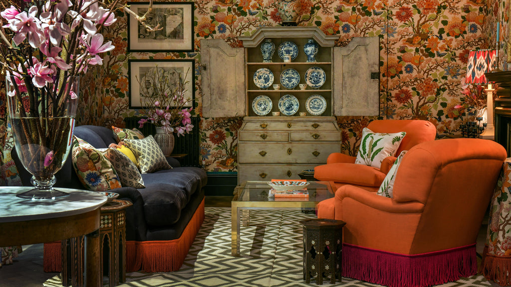 Bright furniture fringes in a highly decorated room