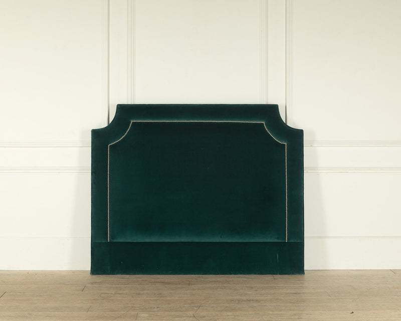 The Manhattan Headboard in a lush teal velvet