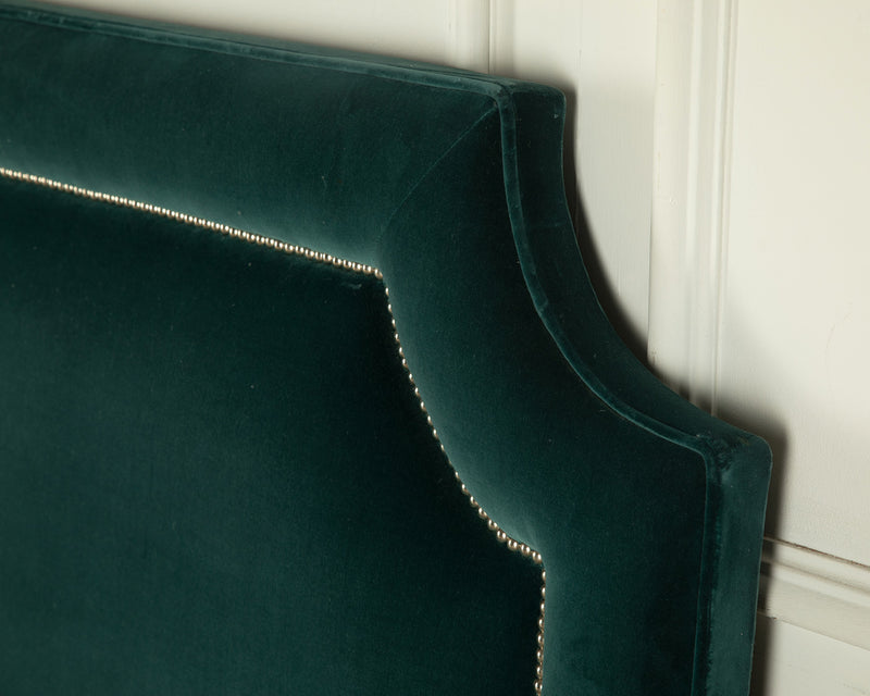 The Manhattan Headbaord - Teal velvet with piped edge detail