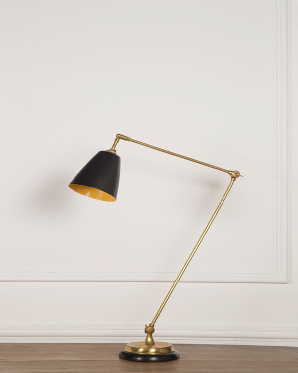 Adjustable Desk Lamp | Black Shade | The Varick | Lorfords
