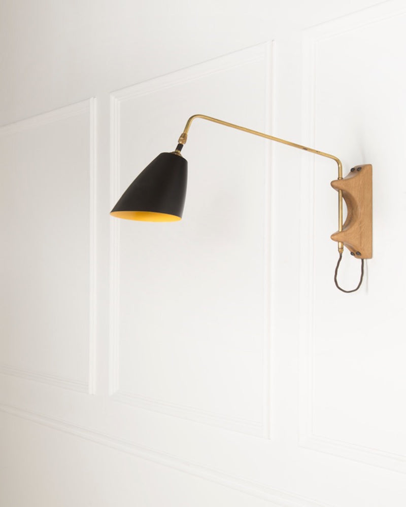 Swing Arm Wall Light | The Mercer | Black Shade | Lorfords