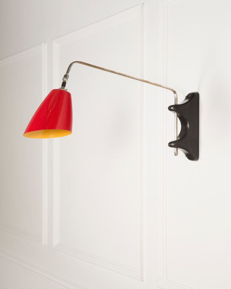 Swing Arm Wall Light | The Mercer | Red Shade | Lorfords