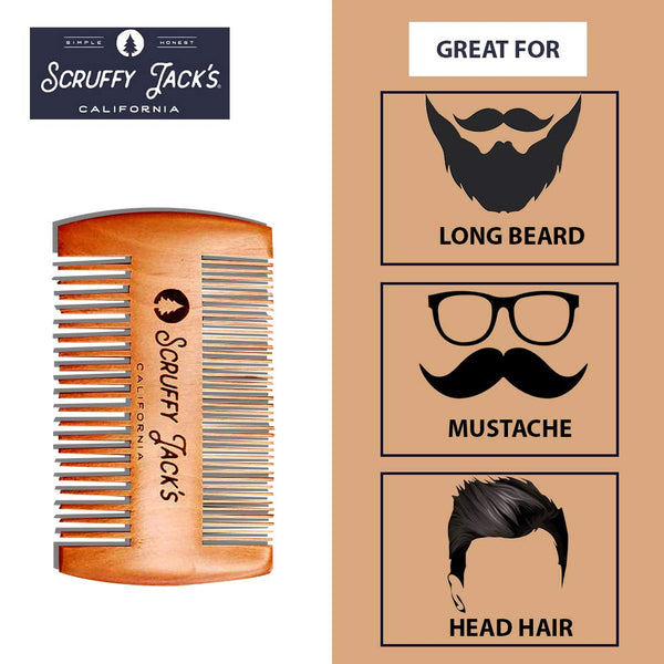 Scruffy Jack's Wooden Beard Comb - Great for beards, mustaches and head hair.