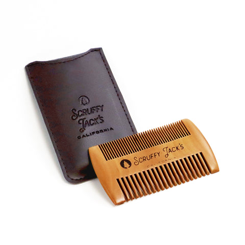 Wooden Beard Comb and Case - Fine and Broad Teeth - Works Great with Oils and Balms