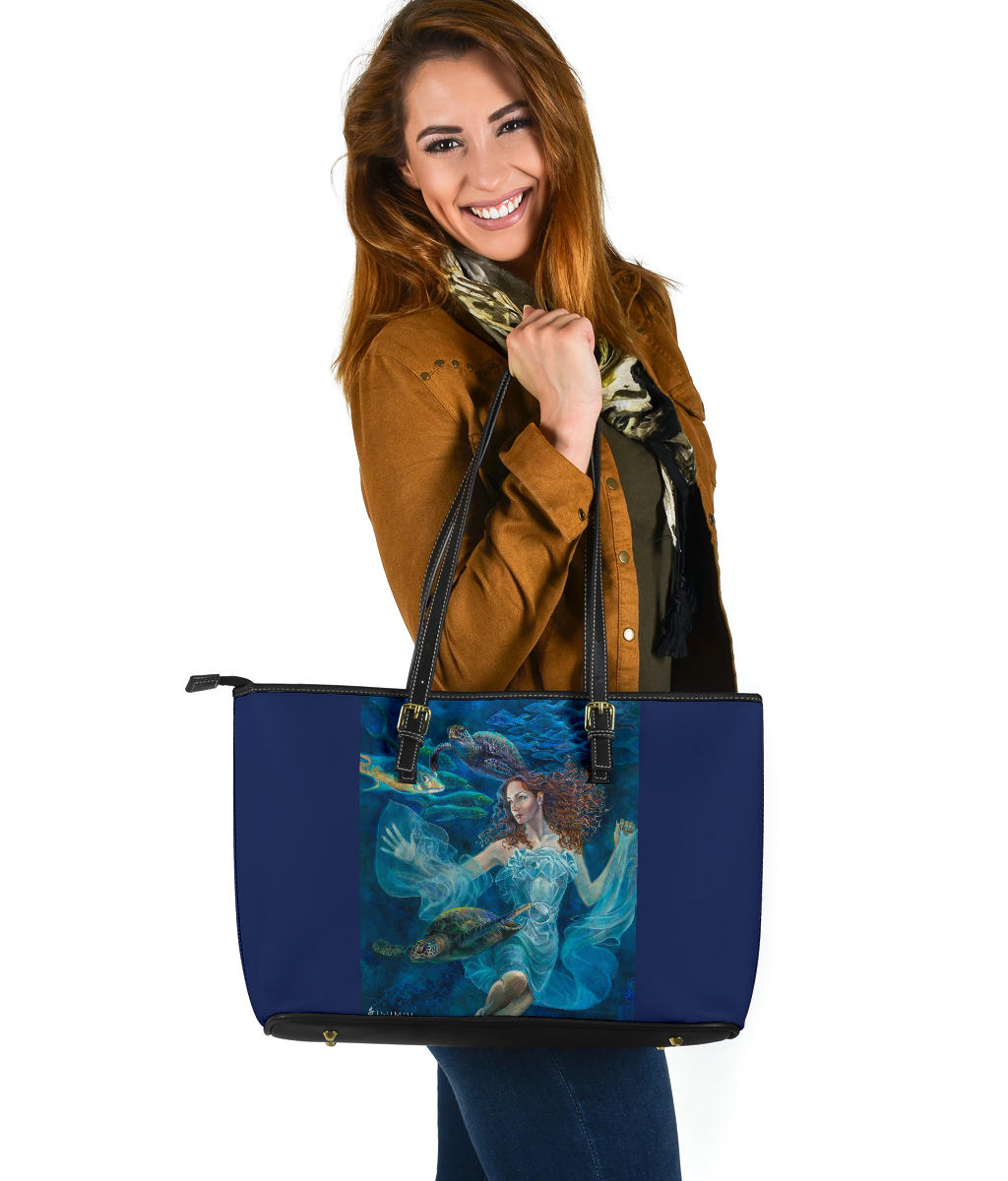 """Aquatic Highway"" Large PU Leather Tote (Includes Expedited Shipping) - S I S U M O I"