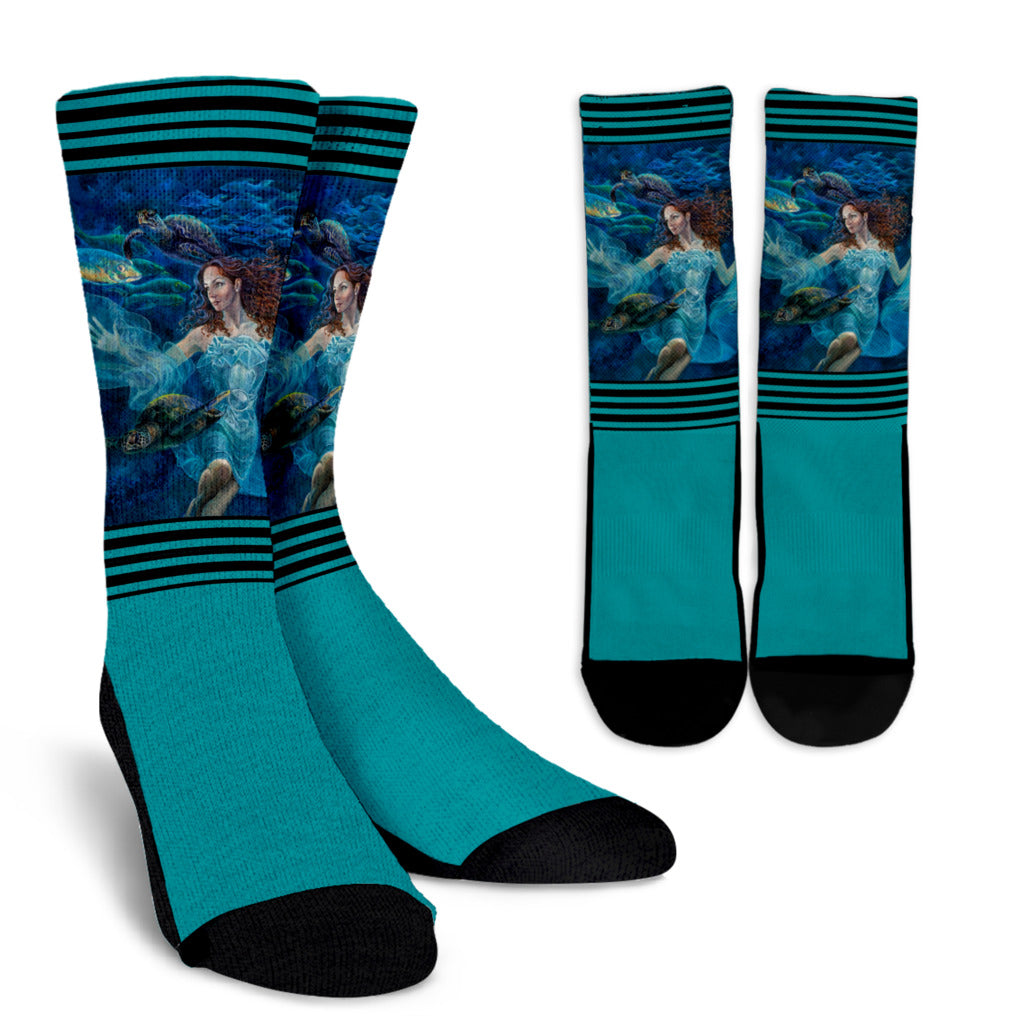 """Aquatic Highway"" Crew Socks ⭐⭐⭐⭐⭐ - S I S U M O I"