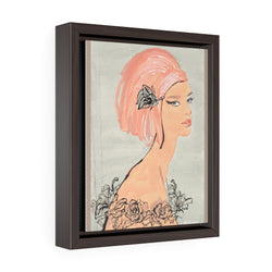 Coral Rose Senorita Vertical Framed Premium Gallery Wrap Canvas - S I S U M O I