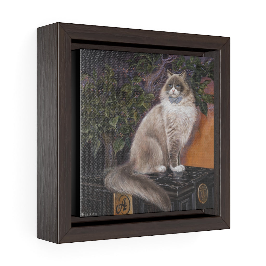 """Matilda, The Algonquin Kitty"" Square Framed Premium Gallery Wrap Canvas - S I S U M O I"