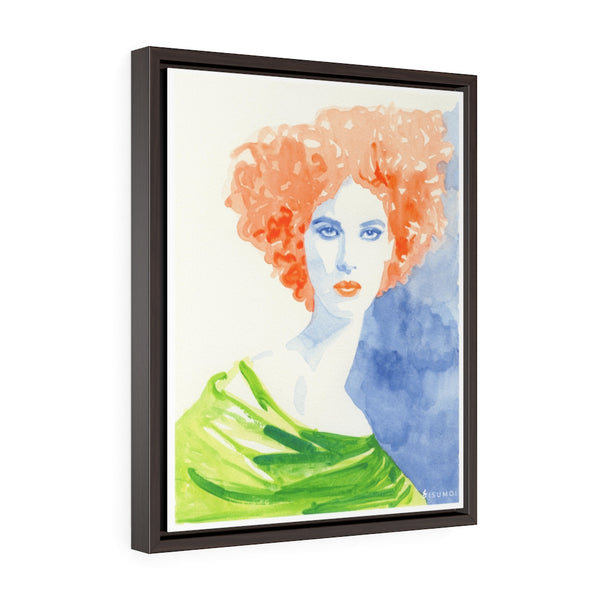 Orange Fro Vertical Framed Premium Gallery Wrap Canvas - S I S U M O I