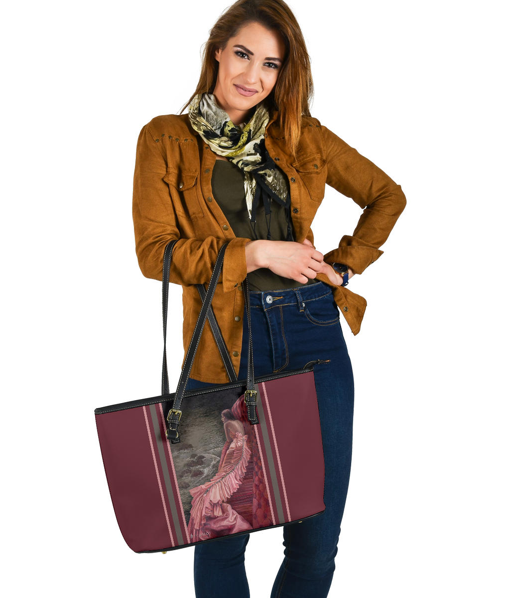 """Shrimp Taffeta"" Large PU Leather Tote (Includes Expedited Shipping) - S I S U M O I"