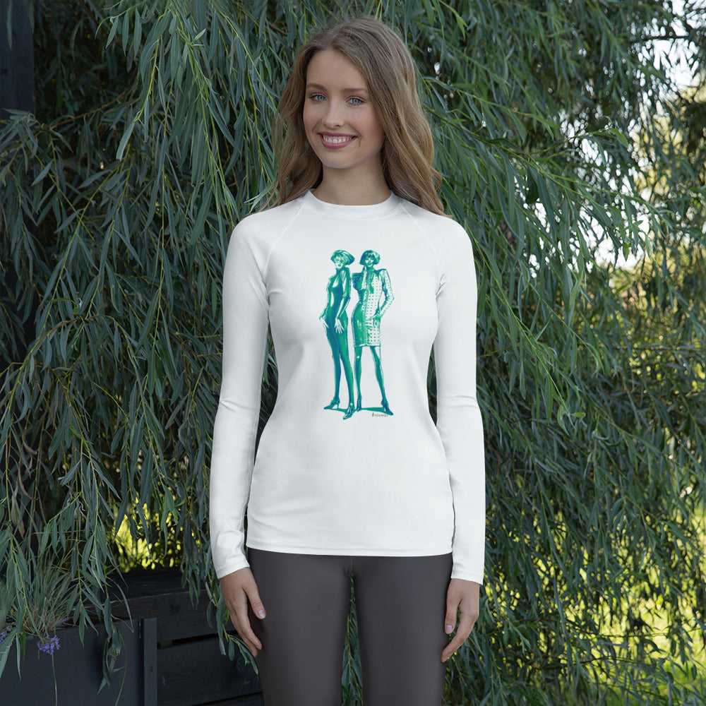 """Green Catsuits"" Women's Rash Guard - S I S U M O I"