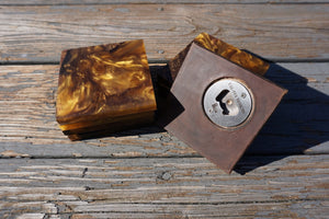 Set of (4) Wood and Resin Bottle Opener Coaster - Cal-Tex Designs