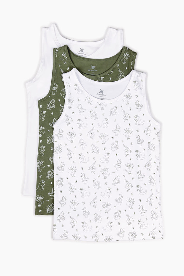 Fun Dinos Vests 3 Pack - Shop Organic kids clothing, sheets, bedding, pyjamas, underwear & more