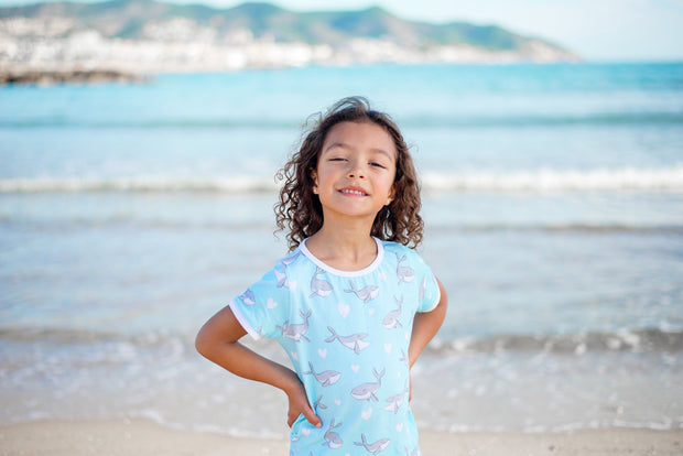 """HUMPBACKS IN LOVE BLUE"" - Shop Organic kids clothing, sheets, bedding, pyjamas, underwear & more"
