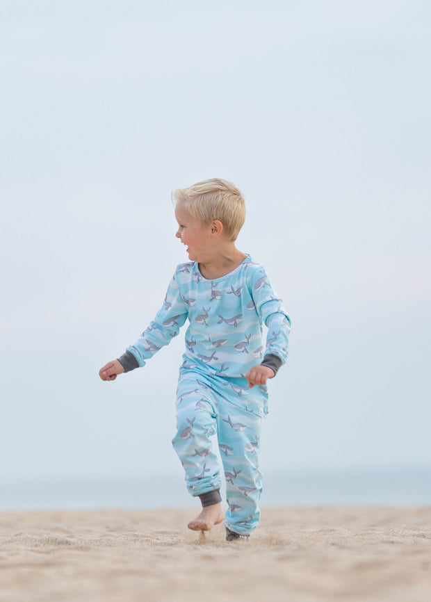 """HAPPY HUMPBACKS BLUE "" - Shop Organic kids clothing, sheets, bedding, pyjamas, underwear & more"