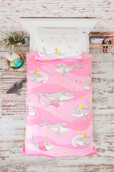 """HAPPY HUMPBACKS"" PINK SINGLE SIZE - Shop Organic kids clothing, sheets, bedding, pyjamas, underwear & more"