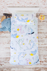 """CHEEKY SHARKS"" SINGLE SIZE - Shop Organic kids clothing, sheets, bedding, pyjamas, underwear & more"