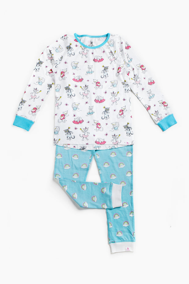 "100% Organic & Fairtrade Certified Cotton Pyjama Set ""MORNING CATS BLUE"""