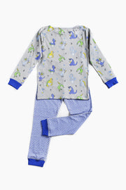 "100% Organic & Fairtrade Certified Cotton Pyjama Set ""BUSY DINOS BLUE"""
