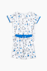 "100% Organic & Fairtrade Certified Cotton Pyjama Set "" PLAYFUL LEMURS BLUE"""