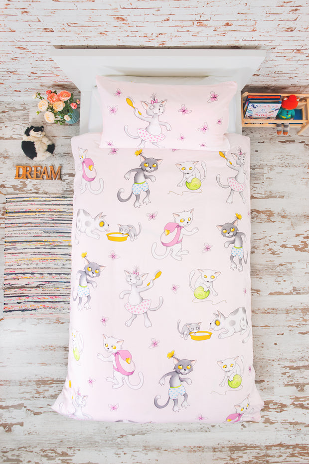 "100% Organic & Fairtrade Certified Cotton Duvet Set ""SLEEPY KITTIES"" SINGLE SIZE"