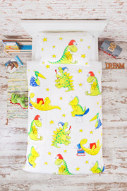 "100% Organic & Fairtrade Certified Cotton Duvet Set ""MORNING DINOS"" SINGLE SIZE"