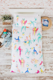 "100% Organic & Fairtrade Certified Cotton Duvet Set ""PARTY PARROTS"" SINGLE SIZE"