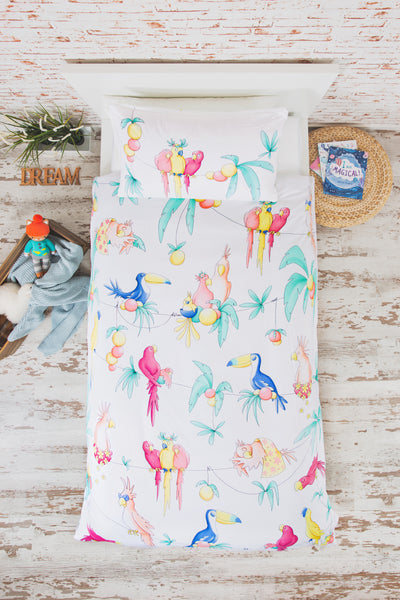 """PARTY PARROTS"" SINGLE SIZE - Shop Organic kids clothing, sheets, bedding, pyjamas, underwear & more"