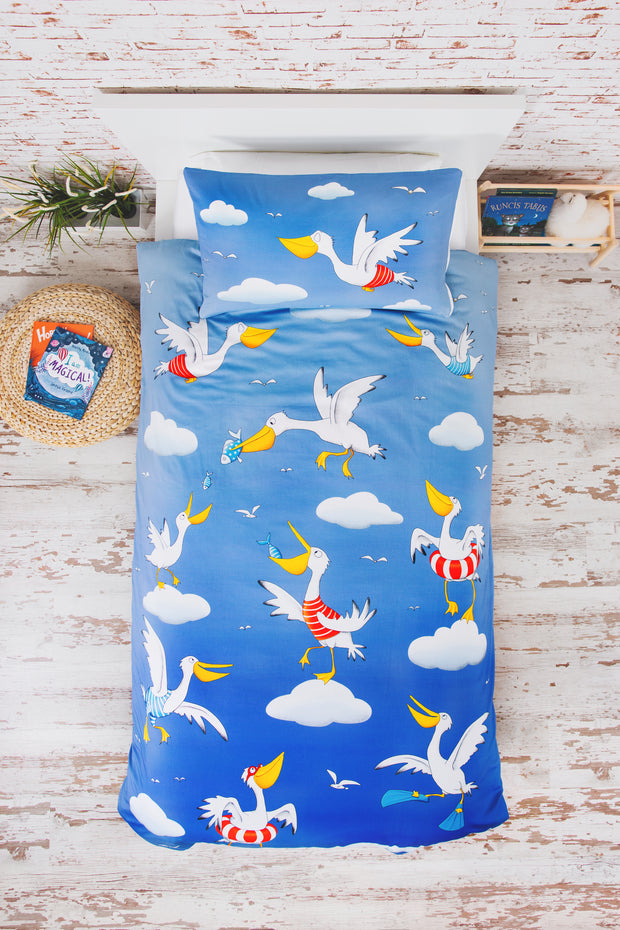 """PESKY PELICANS"" SINGLE SIZE - Shop Organic kids clothing, sheets, bedding, pyjamas, underwear & more"