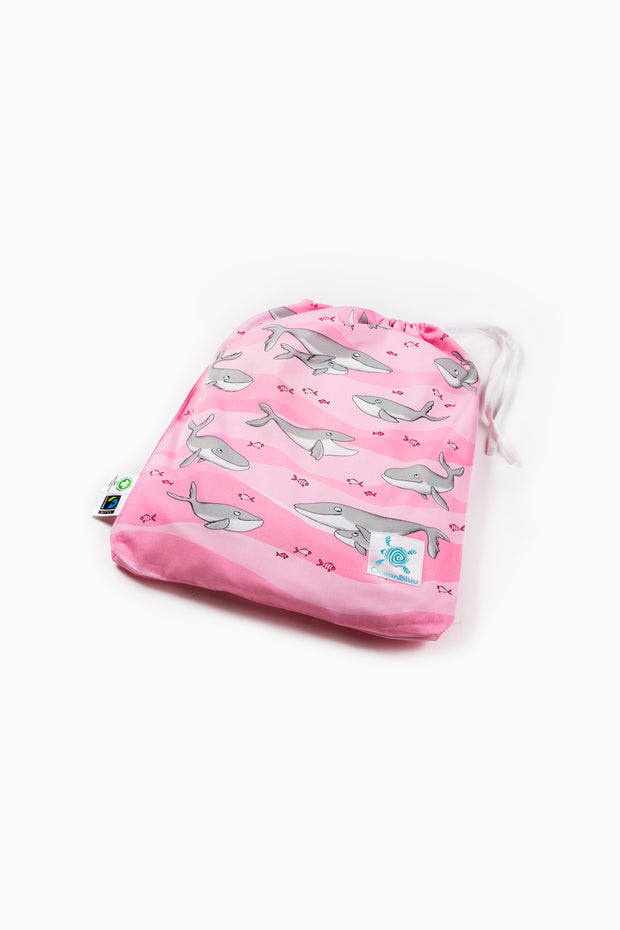 "100% Organic & Fairtrade Certified Cotton Duvet Set ""HAPPY HUMPBACKS"" PINK SINGLE SIZE"