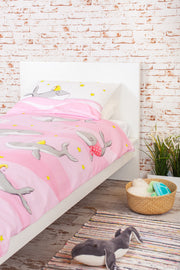 "100% Organic & Fairtrade Certified Cotton Duvet Set ""HAPPY HUMPBACKS"" PINK COT/TODDLER SIZE"
