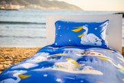 "100% Organic & Fairtrade Certified Cotton Duvet Set ""PESKY PELICANS"" SINGLE SIZE"