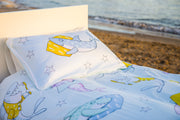 "100% Organic & Fairtrade Certified Cotton Duvet Set ""CHEEKY SHARKS"" SINGLE SIZE"