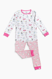 """MORNING CATS PINK"" - Shop Organic kids clothing, sheets, bedding, pyjamas, underwear & more"