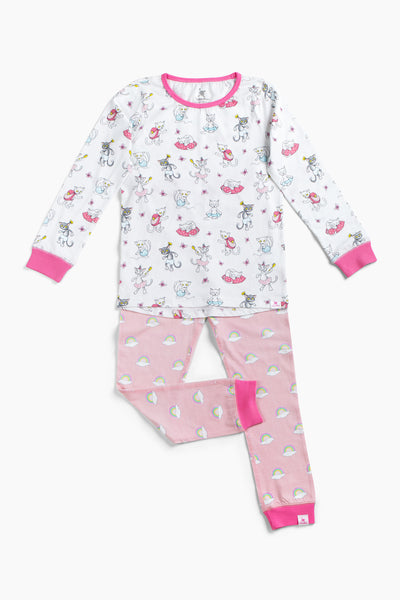 "100% Organic & Fairtrade Certified Cotton Pyjama Set ""MORNING CATS PINK"""