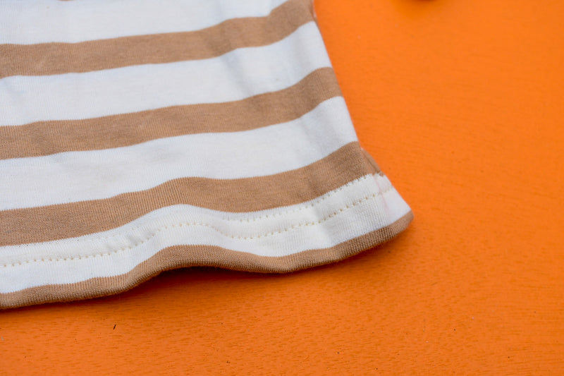The Hoop Long Sleeve Top  - Caramel Stripe