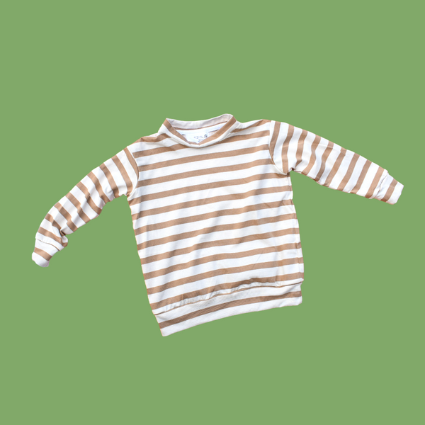 The Hoop Pullover - Caramel Stripe