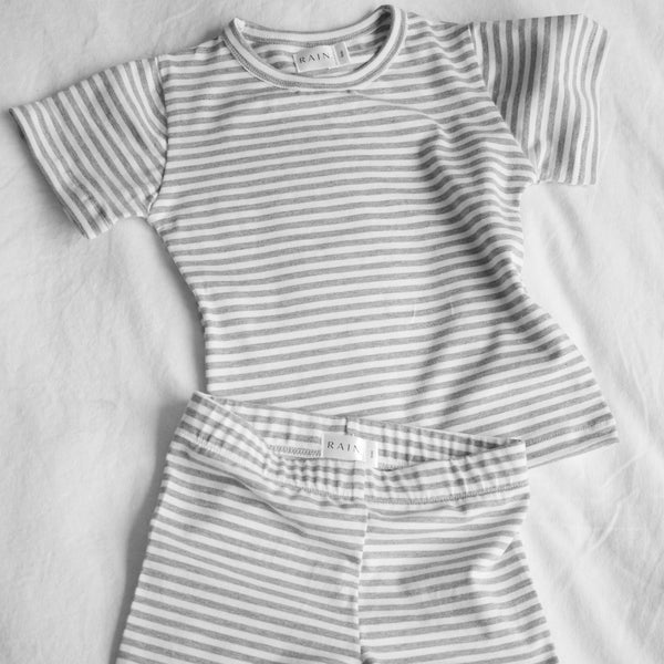 The Day Set - Charcoal/White Stripe