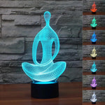 Yoga Meditation 3D LED Lamp, provides optical illusions and 7 different colors with an automatic rotation of colors.
