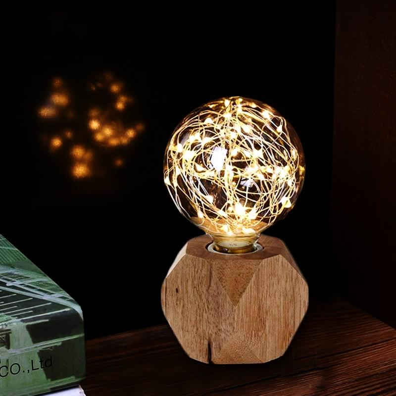 Modern Diamond Wood Base String LED Lamp / Night Light perfect for christmas lamp and winter lamp.