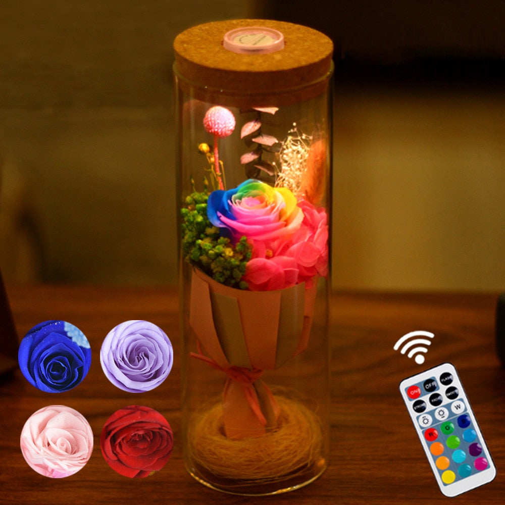 Rose LED Lamp with a remote control, choose from 4 different rose colors and control the interior lighting of the lamp with a remote control, with many more features.