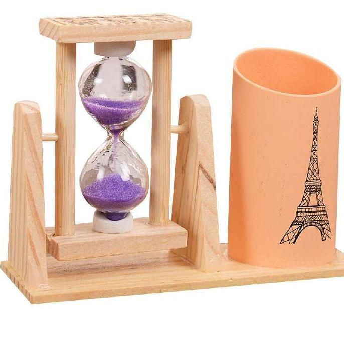 Pencil Holder, wooden with an hourglass to innovate your room