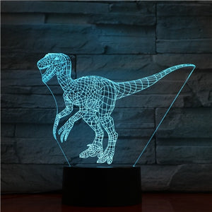 3D LED Lamp, Dinosaur design, Velociraptor 3D LED Lamp with 7 different colors and an automatic rotation of colors.
