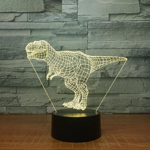 3D LED Lamp, Dinosaur design, Tyrannosaurus Rex 3D LED Lamp, T-rex with 7 different colors and automatic rotation of colors.