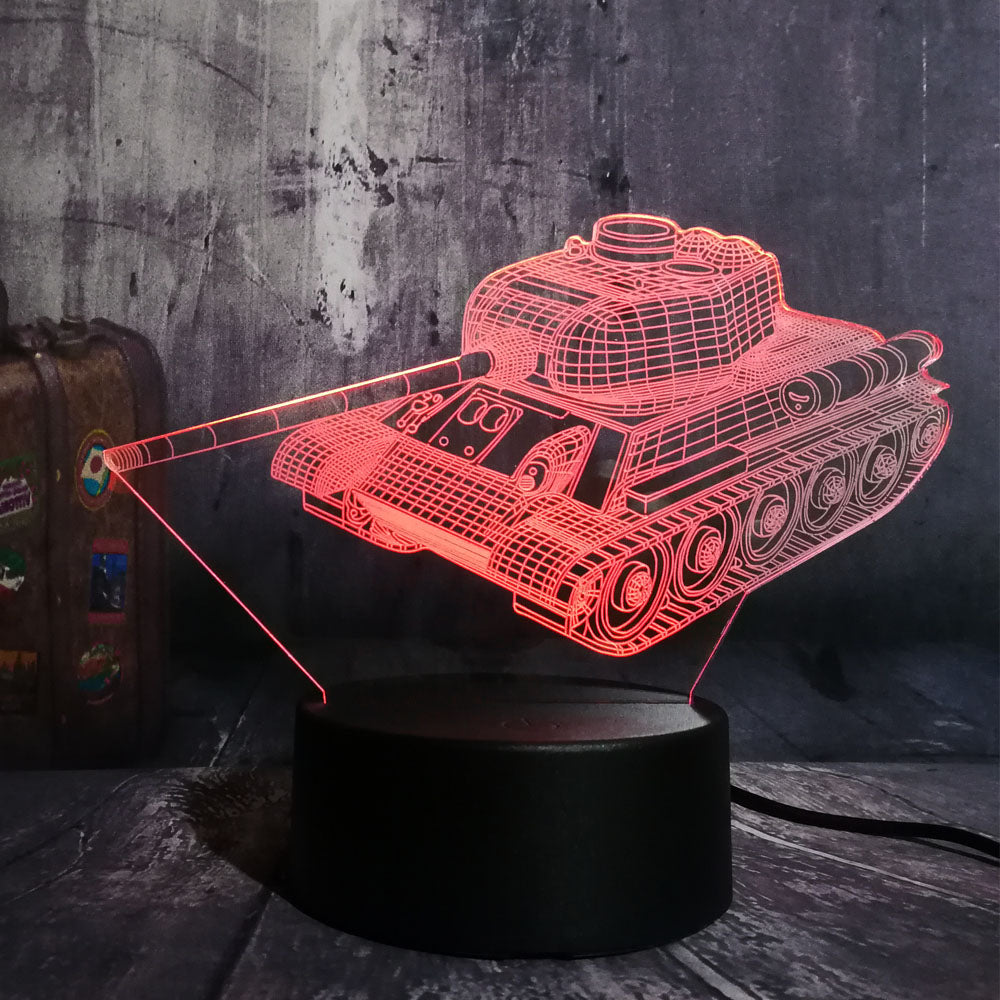 3D LED Lamp, a Tank 3D LED Lamp with 7 different colors and automatic rotation of colors. Touch mode.